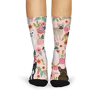 Print Crew Socks Pink French Bulldog Floral adult Leg
