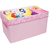 Forever Princess Collapsible Kids Toy Storage Chest by Disney - Flip-Top Toy Organizer Bin for Closets, Kids Bedroom, Boys & Girls Toys - Foldable Toy Basket Organizer with Strong Handles & Design