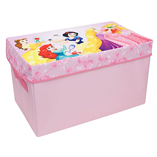 Forever Princess Collapsible Kids Toy Storage Chest by Disney - Flip-Top Toy Organizer Bin for Closets, Kids Bedroom, Boys & Girls Toys - Foldable Toy Basket Organizer with Strong Handles & Design by Everything Mary