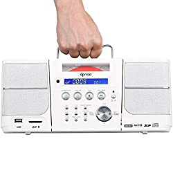 DPNAO Portable CD Player Boombox with FM Radio Headphones Jack (White)