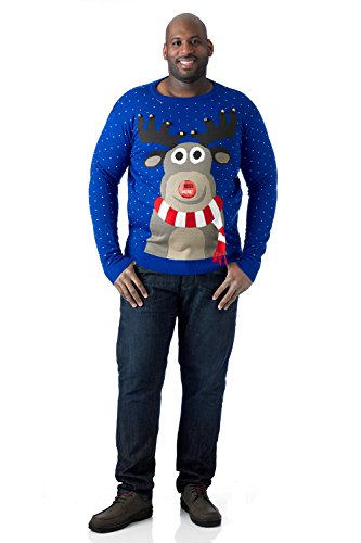 Duke D555 Mens King Size Big Tall 3D Knitted Christmas Jumper Reindeer Blue -Size (Big And Tall Christmas Sweaters)