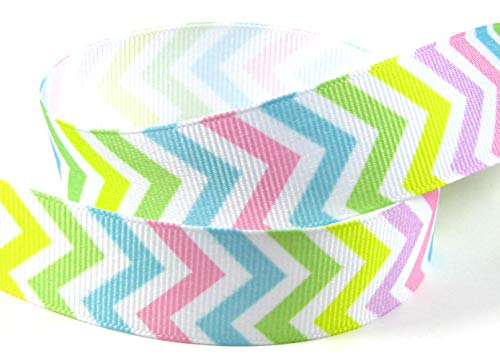 (Q-YO Preppy/Stripe/Patriotic Grosgrain Ribbon for Hair Bows, Floral Designs, Gift Wrapping, Sewing and More. (2x5yd 7/8