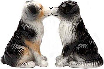 (Australian Shepherd Dogs 3 3/4'' tall Magnetic Salt and Pepper Shakers)