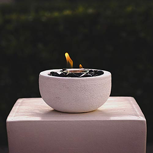 VIVID Heat Modern Table Top Fire Bowl, Fireplace, Round White Firepits Ventless Outdoor Cement Portable Bio Ethanol Fire Pit (Fuel Sold Separately) - (White Bowl) (Pit Table Indoor Fire)