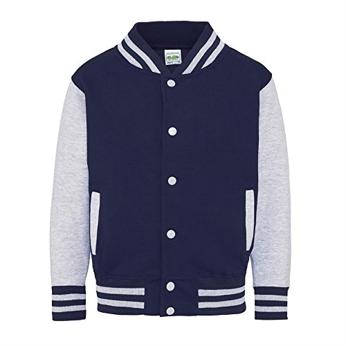 AWDis Hoods Big Boys' Varsity Letterman Jacket Oxford Navy/ Heather Grey 9 to 11 -