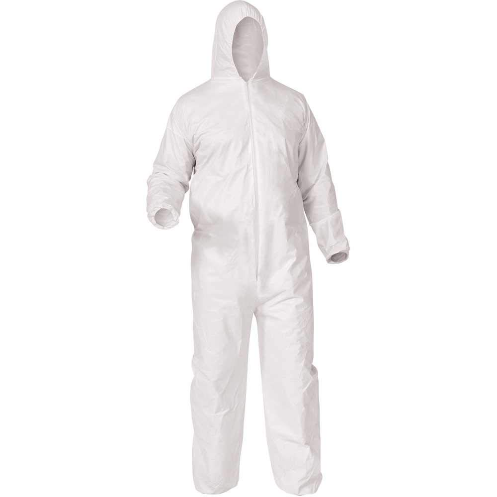 Kimberly Clark 38938 Kleenguard A35 Liquid & Particle Protection Coveralls, 2475179, Large, White