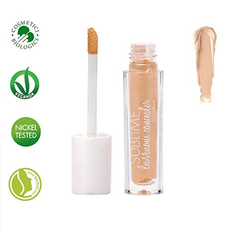 PuroBIO Certified Organic Concealer 01 Second-Skin Effect with Plant Extracts, Hyaluronic Acid and Avocado Oil. Full Coverage, Radiant, Plumping Effect. Organic. Vegan. Made in Italy