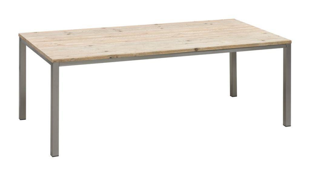 bony design esstisch edelstahl mit bauholz 78 210 100 g nstig. Black Bedroom Furniture Sets. Home Design Ideas