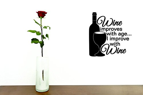 design with vinyl Moti 2620 calcomanía 1 – Peel & stick calcomanía de pared: Vino Mejora Con La Edad I Improve con...