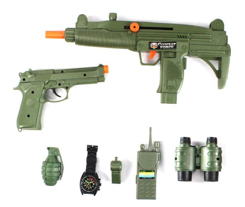 Special Combat Force Army Friction Toy Gun Complete Combo Set w/ Friction Uzi Toy Gun, Toy M9 Pistol, Binoculars, Watch, Whistle, Walkie Talkie, (Military Toy Guns)