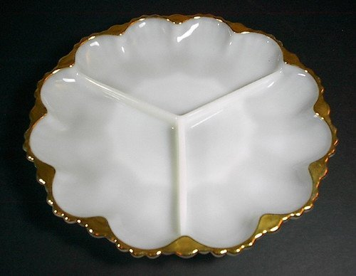 Vintage Anchor Hocking Fire King White Milkglass Divided 3 Section Plate with Gold Scalloped Edges ()