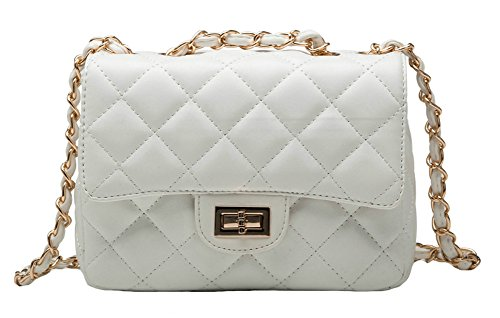 ILISHOP Women's Fashion Shoulder Bag Quilting Chain Cross Korean Ladies Handbag (White)