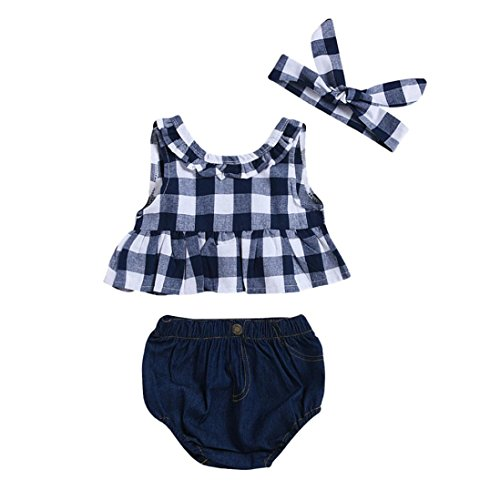 Lurryly Toddler Baby Girl Summer Plaid Skirted T-Shirt Tops+Denim Shorts Clothes Set (Size:12M, Label Size:80, Dark Blue)