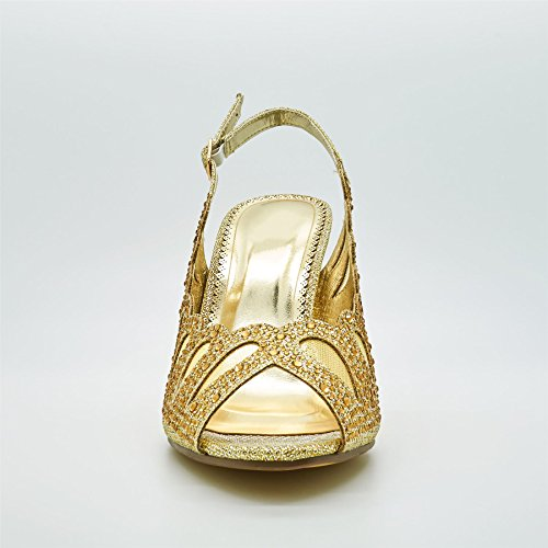 London Footwear Hazel, Women's Heels Court Shoes Sandals Gold