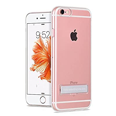 iPhone 6 6S Case, HCcolo Crystal Clear Case with Metal Kickstand, Slim Fit Clear PC + TPU Bumper Armor ALL AROUND Protection Hybrid case for Apple iPhone 6S & iPhone 6