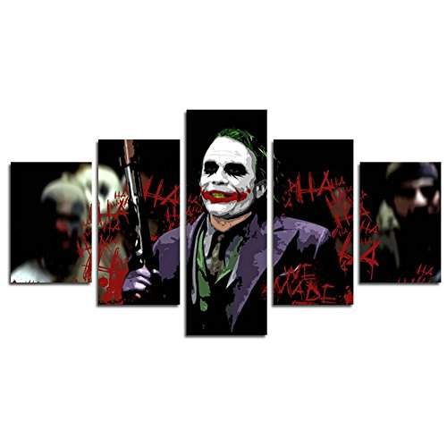 Leyrus 5 Piece Joker Batman Movie Print Canvas Poster Decoration (No Frame) Unframed YSH054 50 inch x30 inch]()