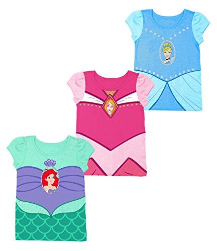 disney-girls-little-girls-princesses-cinderella-aurora-ariel-3-pack-costume-t-shirt-bundle-light-blu