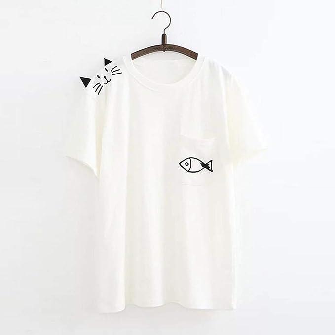 Flyshow - Camiseta básica de Manga Corta con Bolsillo Alto ...