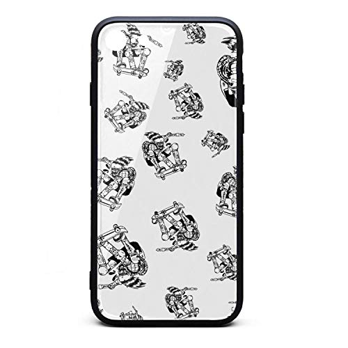 Yiastia_Minyi iPhone 8 Case, iPhone 7 Case Skate Skateboarding Sketch 9H Tempered Glass Back Cover and TPU Rubber Frame Phone Cover Compatible for iPhone 7/iPhone 8 -