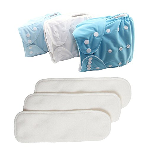 Sunshine baby Cloth Diapers,Reusable Washable All in One Size Pocket Diapers, Adjustable Snap, 3 pcs Pack Cloth Diaper with 1 Insert Each, 3 Pcs + 3 microfiber insert by Sunshine baby