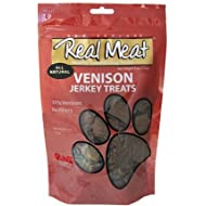 The Real Meat Company 828017 Dog Jerky Venison Treat, 4-Ounce