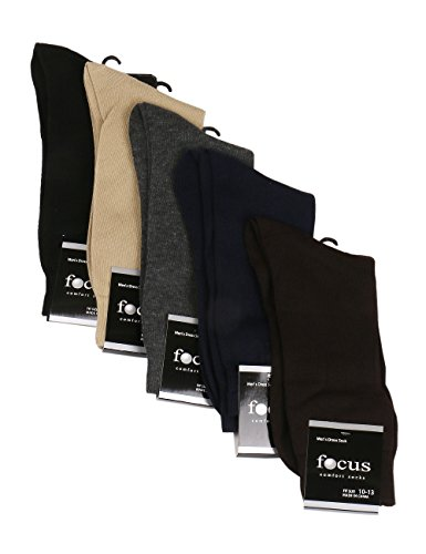 Mens Dress Socks 6 Pack- Comfort and Style. Crew length in Classic Solid Colors, All Black, Design, or Argyle.