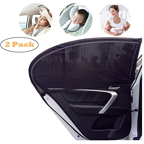 Car Rear Side Window Sun Shade for Baby Kids Protection, 2 Pack BorlterClamp Car Window Sun Protection Cover for Most Cars - Ultra-High Elasticity Mesh - UV Protection, Blocking Sunlight ()