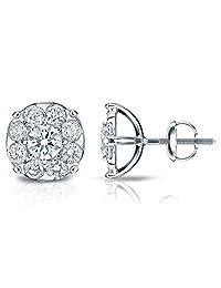 14k Gold Round-cut Diamond Cluster Earrings (1/4 -2 cttw, H-I, I1-I2) Screw-Backs
