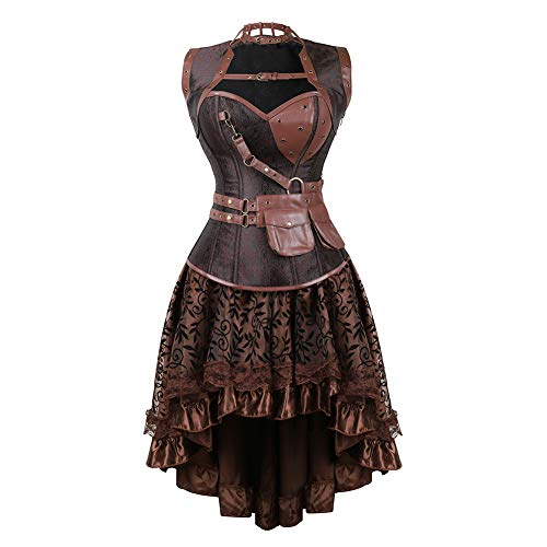 Grebrafan Goth Spiral Steel Boned Brocade Bustiers Corset Skirt Set with Jacket and Belt (US(10-12) XL, Brown)