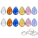 H&D Teardrop Chandelier Crystal Pendants Prisms Parts Beads Multicolor Pack of 30