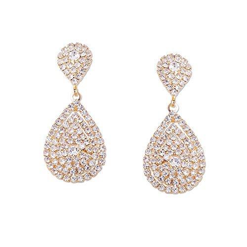 (Wedding Earrings Gold Plating Teardrop Dangle Earrings)