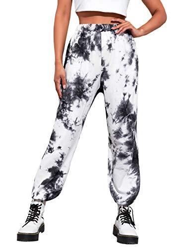 SweatyRocks Women's Elastic Waist Pants Yoga Workout Sports Jogger Sweatpants