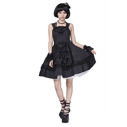 Punk Rave Femmes Lovely Gothic Lapin princesse robe Punk genou-longueur robe sans manches Jupe noire Bubble jupe courte, 3 tailles