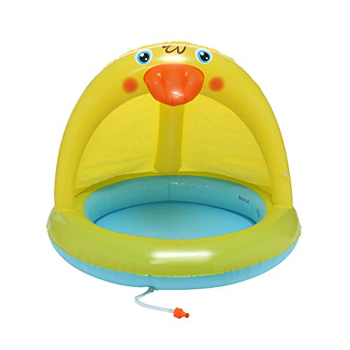 (MOGOV Baby Pool, Duckling Splash Pool with Canopy, Spray Pool of 40In, Water Sprinkler (Multicolour,)