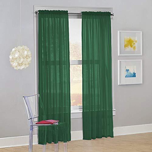"Decotex Set of 2 Sheer Voile Transparent Window Panel Curtain Drapes (54"" W X 63"" L, Hunter Green)"