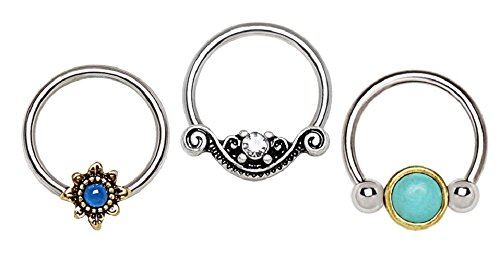 (3PCS) Variety of Antique Designs Snap-in Captive Bead Rings / Septum Rings 16G 3/8