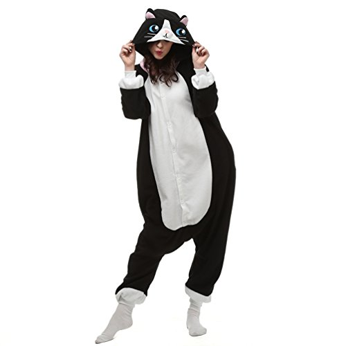 (NINI.LADY Unisex Sleepsuit Pajamas Cosplay Costume Adult Sleepwear Black Cat)