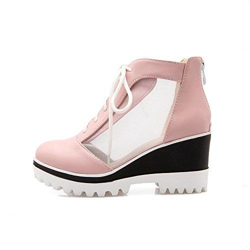 Amoonyfashion Mujeres Zipper Blend Materials Round Closed Toe High Heels Bombas Sólidas-zapatos Pink