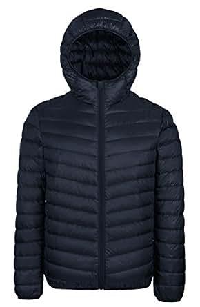 WenVen Men's Winter Hooded Packable Down Jacket - US Size