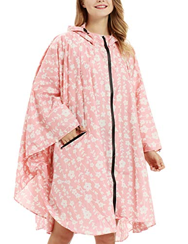 Buauty Rain Poncho Jacket Coat for Adults Hooded Zip Up Waterproof Outdoor Raincoats