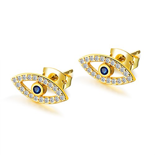 Plated Evil Eye Stud Earrings with Mini Cubic Zirconia Cobalt Blue Glass Center Stone For Women Teen Girls (Gold) ()