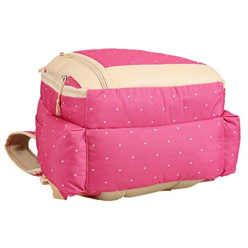 LCY - Mochila para pañales (con compartimentos) beige con lunares blancos rosa con lunares blancos