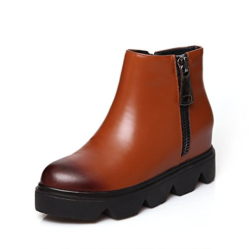 MINIVOG Lug-sole Height Increasing Patent-leather Womens Military Ankle Booties Brown