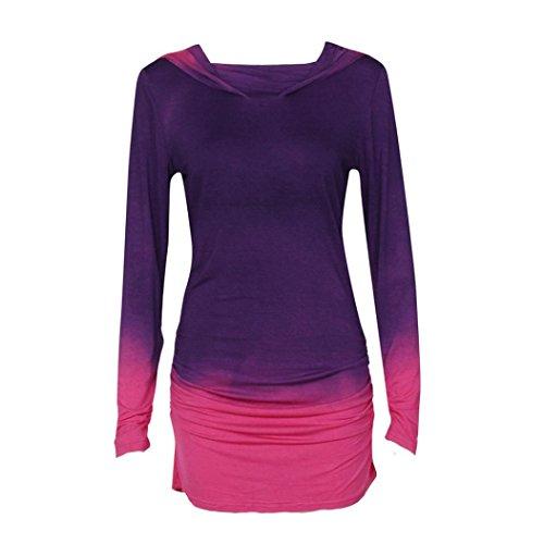 Wensltd Women Hoodies Sweatshirts Long Sleeve Hooded Gradient Color Tops (L, Purple) for $<!--$12.99-->