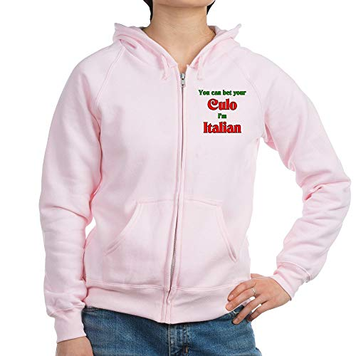 (CafePress You Bet Your Culo I'm Italian Womens Zip Hoodie, Classic Hooded Sweatshirt with Metal Zipper Pale Pink)