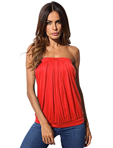 Pleated Tube Top (DJT Women's Tie Dye Print Basic Sleeveless Pleated Tube Top X-Large Red)