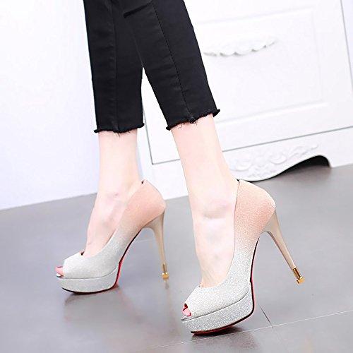 KPHY-Fisch KPHY-Fisch KPHY-Fisch Im Mund 12Cm Hochhackigen Schuhe Wasserdichte Plattform Flachen Mund Dünne Sohle Mode Damenschuhe Sommer Wild Schuhe Schuhe. 0a67c8