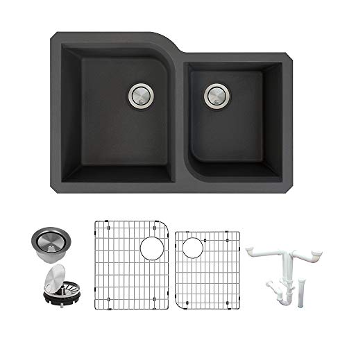1.75 Medium Double Bowl - Transolid K-RUDO3120-09 Radius Granite Undermount Offset 1-3/4 Double Bowls Kitchen Sink Kit 31.75-in L x 20.75-in W x 9-in H Black
