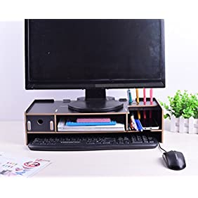 Monitor stand Monitor lift Desktop organizer Work space organizer Keyboard shelf (Black)