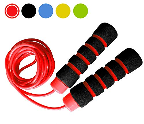 Limm All Purpose Jump Rope - Ideal for All Ages & Skill Levels, Indoor/Outdoor, Easily Adjustable, Comfortable Handles, 5mm Thick Plastic/PVC Rope (Red and Black)